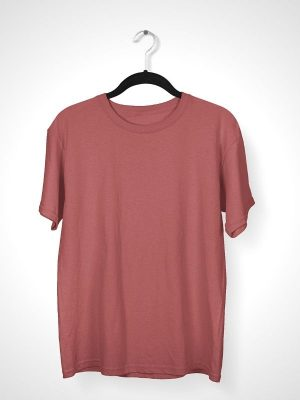 Solid CAnnon Pink Round Neck T-shirt